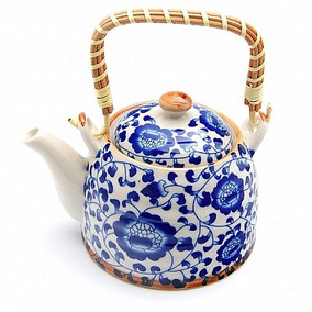Chaleira Bule Porcelana Oriental C/ Infusor Presente Cha
