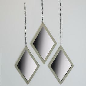 Trio De Espelhos Losangos Para Parede Com Correntes