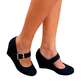 Sapato Feminino Preto Boneca Salto Medio Baixo Frete Gratis