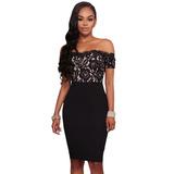 Sexy Vestido Negro Strapless Entallado Encaje 61709