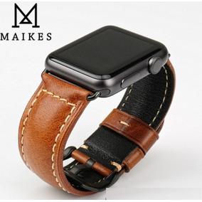 Pulseira Couro Legítimo P/ Apple Watch 42 Mm Marrom E Preto