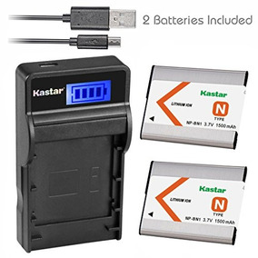 Kastar Battery (x2) & Slim Lcd Usb Charger For Sony Np-bn1 N