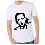 Remera Marilyn Manson 100 % Algodón Vinilo Termo