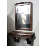 Antiguo Espejo Y Repisa Francia, Marquetería