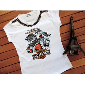 Camiseta Feminina Harley Manga Curta Blusa T-shirt Verao