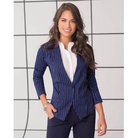 Chaqueta Blazer Drill Strech Azul Dama Mujer Femenino 7294 20ac659dc28