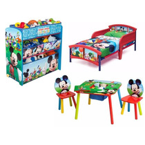 Combo Cama Camita Infantil Mickey Mouse Mesa Juguetero