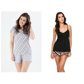 Kit Dois Conjuntos Pijama Baby Dolls Conforto Feminino