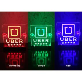Luminoso Uber Led Em Acrílico Versão 12v Direto Na Bateria