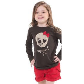 Conjunto Camiseta Caveira Com Laço E Short Vermelho Veludo