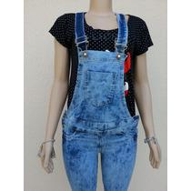 Macacão Calça Jeans Feminino Azul/preta Jardineira Comprido
