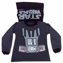 Remera Disfraz Darth Vader Con Capa Star Wars - Din Don