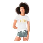 Camiseta Aeropostale Feminino Orig. Aplique E Bordados Eua