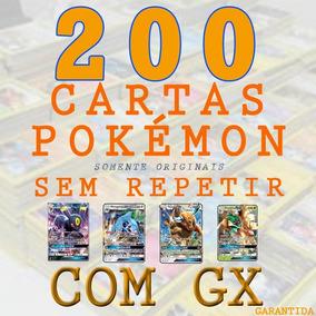 200 Cartas Pokémon Sem Repetir + Carta Gx + Brinde Especial