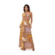 Vestido Kinara Longo Crepe Com Cordão Tassel Amarelo