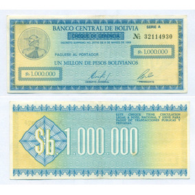 Bolivia Cheque De Gerencia 1.000.000 $ Bol. Año 1985