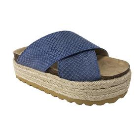 Zapato Lucerna Sandalia Birk Cuero Yute Celeste Tiras