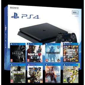Playstation 4 Slim Mod 2017+hdmi+airicular+juego+gtia 1 Año!