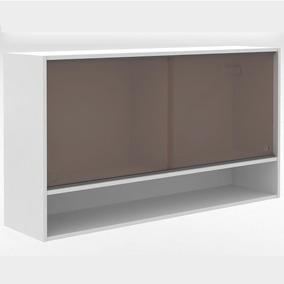 Armário Simples Alto 1,20m 2 Portas De Vidro Glamy