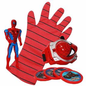Lança Teias Homem Aranha Luva Brinquedo Lançador + Boneco