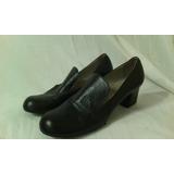 Zapatos Azul Vintage Años 70 Todo Cuero N. 38 ¡impecables!