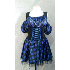 Vestido Fantasia Bolinhas Anos 60/ Preto E Azul M