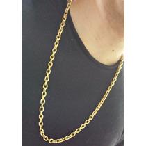 Cordão Masculino Cadeado Aço Inox 316l Folheado Ouro18k 70cm