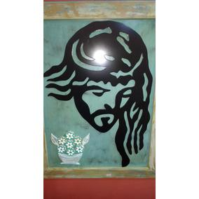 Quadro Cristo 3d Mdf Flores Madeira, 78x55cm, Lindo!