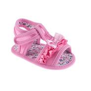 Sandália Infantil Rosa Com Babado E Laço - Pimpolho