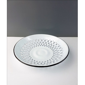 Panera Centro De Mesa Frutera Metal Enlozado Blanco