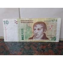 Billete 10 Pesos Error Falla Mal Corte