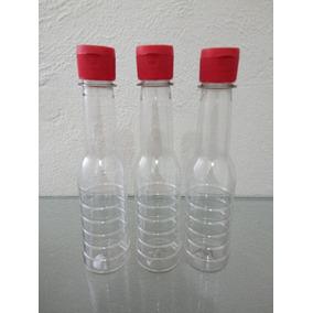 100 Pzas De Botella Pet Para Salsa De 250 Ml C/tapa Flip Top