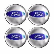 Kit Emblema Ford Botom Calota Roda Resinado 48 Mm 4 Peças
