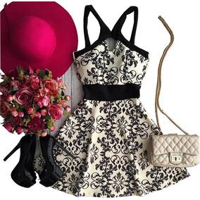 Vestido Floral Casual Festas De Verão Curto Rodado Com Alça