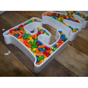 6 Letras Huecas 20cm Corporeas 3d Para Rellenar Candy Bar