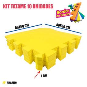 Tatame Eva 10 Unidades Decoração Amarelo 50x50x01 Cm