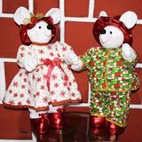 Muñecos Navideños Figura Ratones Señor Y Señora Ratona