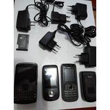 Lote Com 4 Celulares Nokia Motorola Quebrados Emb Carregador