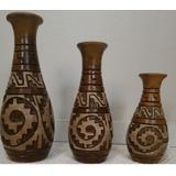 Vaso Decorativo Artesanal Marajoara Três Peças, Cerâmica