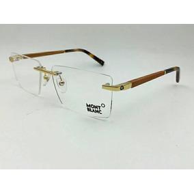 Armação Oculos De Grau Mont Blanc Mb303 Dourado Meio Aro - Óculos no ... 604e3d3178