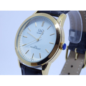 Relógio Masculino Original Barato Marca Q & Q Dourado Social