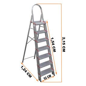 Escada Aluminio 7 Degraus Duplos Reforçada E Segura