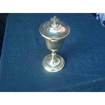 Âmbola Sacra Em Metal Dourado Perfeito Estado Raridade Igrej