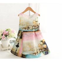 Vestido Infantil/ Criança Casual Verão Estampado Lindo