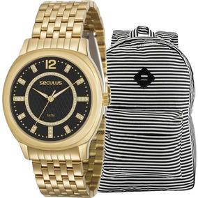 Kit Relógio Feminino Seculus Com Mochila Navy