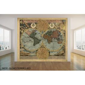 Mapamundi Grande Mapa Mundo Lienzo Cuerina Vinilo Decorativo