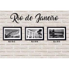 Kit 3 Quadros Preto & Branco Rj Rio De Janeiro + Moldura