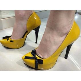 Sapato Scarpin Salto Fino Alto Laço Amarelo Promoção 557