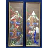 Muy Decorativos Cuadros Pendant De Pintura Japonesa Firmada