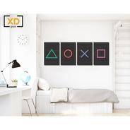 4 Quadros Decorativos Gamer Botão Playstation 20x30 Mdf